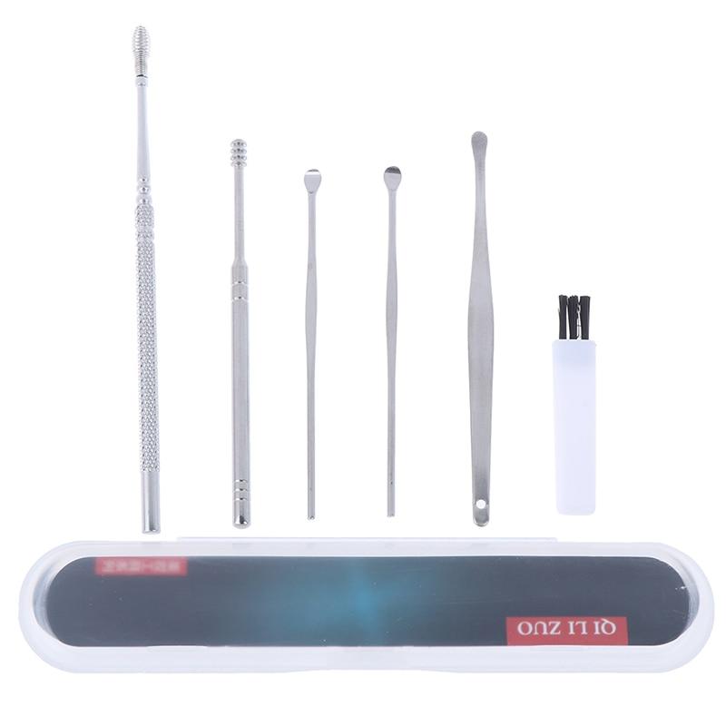 1/6pcs Set Stainless Steel Spiral Portable Earpick Spoon Ear Tapping Ear Clean Ear Wax Remover Ear Care Beauty Tool Kit