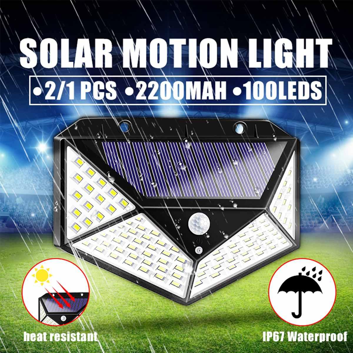 Waterproof 100 LED Solar Power Street Lights PIR Motion Sensor Wall Light Home Yard Flood Lights Garden Lighting Security Lamps