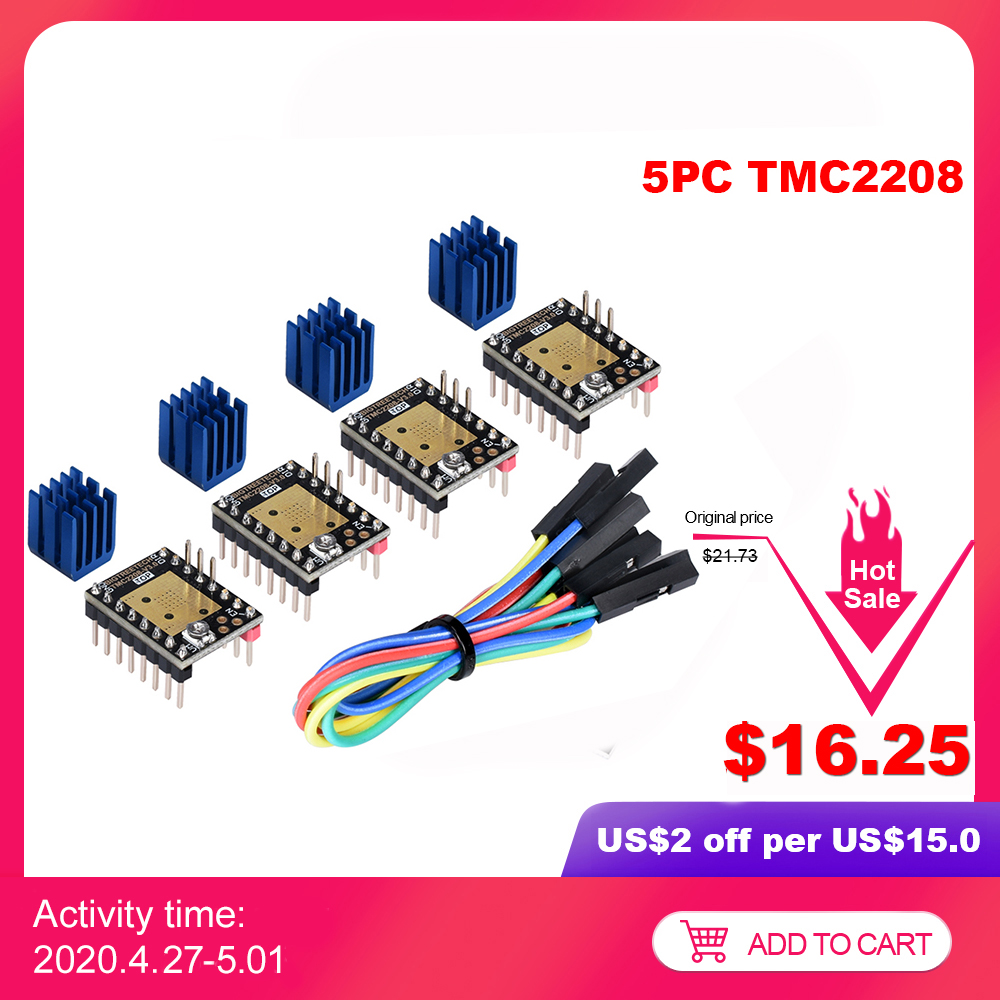FYSETC Upgrade 3D Printer Controllers TMC2209 Ultra-silent Stepstick Stepper Mute Driver Module 256 Microsteps Current 2.8A Peak with Heatsink for Reprap Ramps1.4 MKS Gen Motherboard Parts White 5Pcs