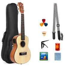 Kmise Ukulele Concert Electric Acousitc Solid Spruce Ukelele 23 Inch Uke with Professional Guitar Cable Starter Kit