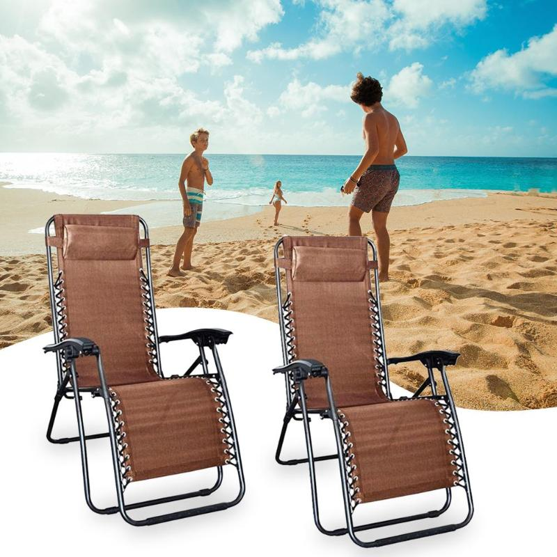 2pcs Portable Folding Chairs With Saucer Chair Bed Lounge Furniture Kit
