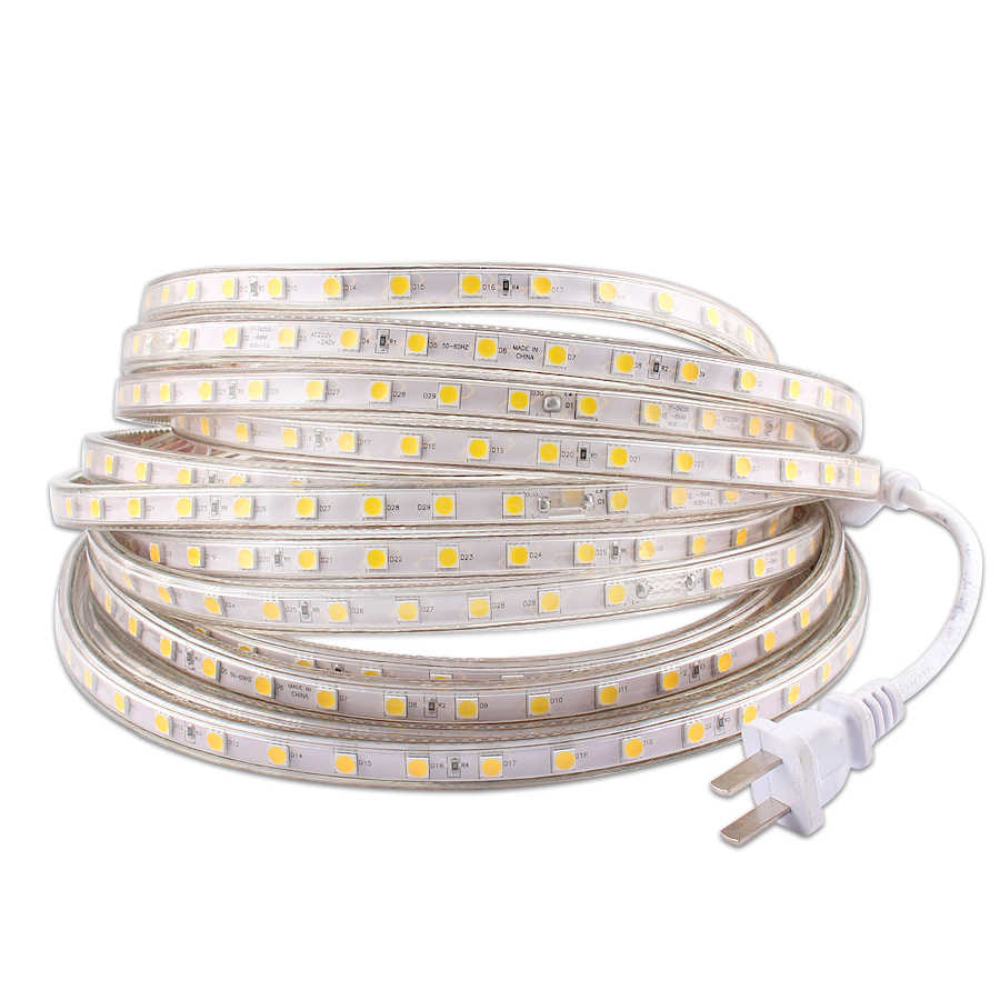 220 V LED Strip Light 220 V Tahan Air IP67 SMD 5050 60 LED/M Tape Diode 220 V Volt LED Strip Flexible Lamp Power Plug Ruang Tamu