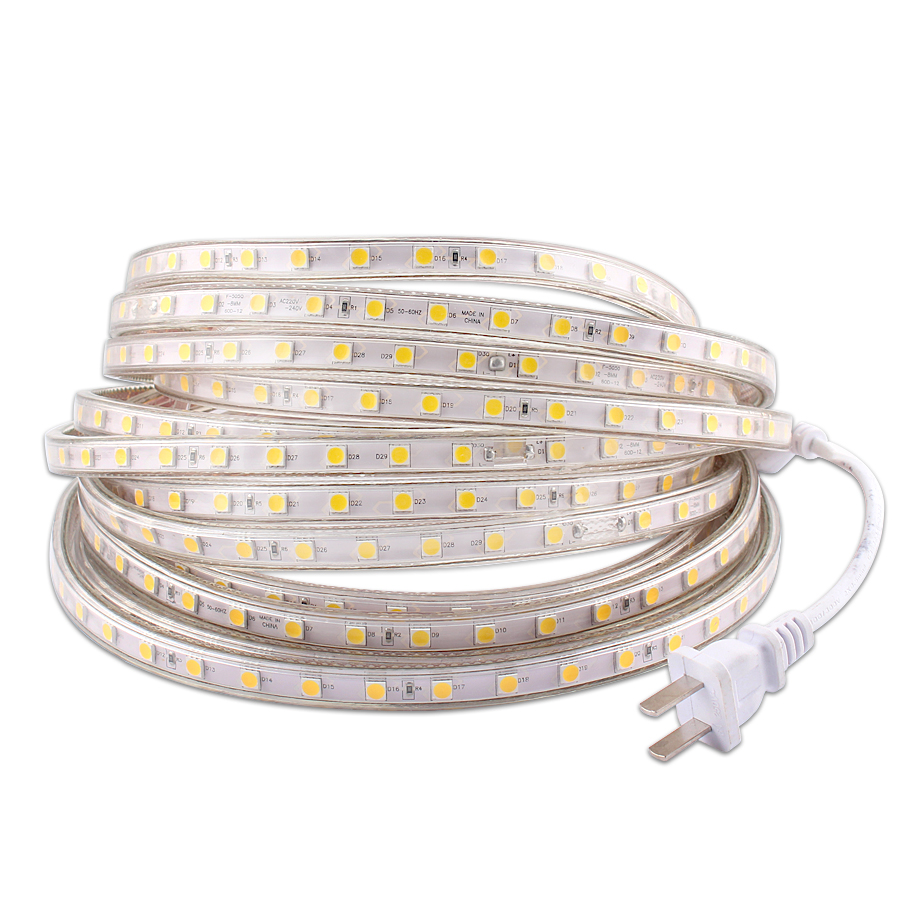 220V LED Strip Light 220V Waterproof IP67 SMD 5050 60leds/m Tape Diode 220 V Volt Led Strip Flexible Lamp Power Plug Living Room