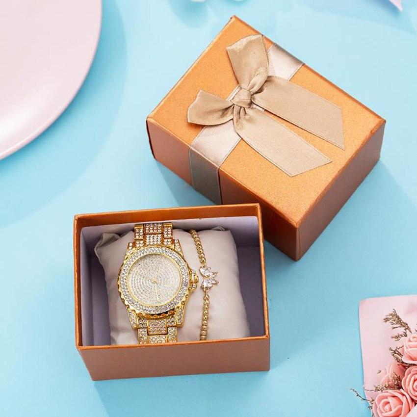 2019 shopify dropshipping 2 adet/takım saat hediye seti butik ambalaj zirkon bilezik + çelik kemer quartz saat fabrika doğrudan title=