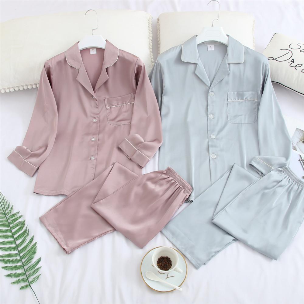 FZSLCYIYI Silk Satin Pajama Set Couples Long Sleeve Male Sleepwear Women Pajamas Pijama Pyjamas Men's Pajamas Homewear M-3XL