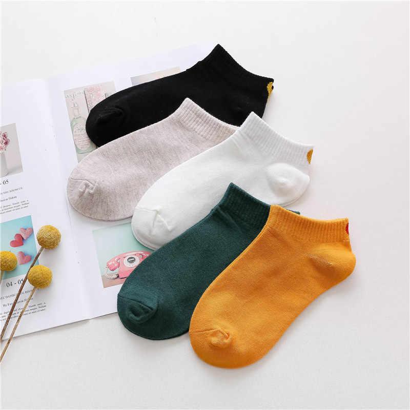 Neue Liebe Herz Nette Hochschule Wind Einfache Grund Frische Weibliche Socken Baumwolle Frühling Sommer Kurze Socke Studenten Campus Sox Mode