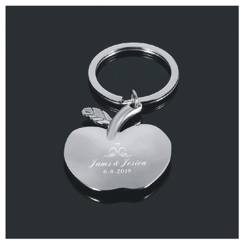 Personalized big event party favors Apple keychain,bag keys,stainless steel car keychain 30pcs custom with your contacts name