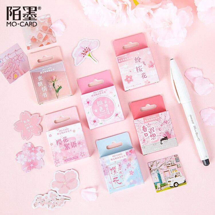 Romantic Pink Season Of Sakura Bullet Journal Diary Label Stickers DIY Scrapbooking Tool Food Sealing Sticker Stationery Gift