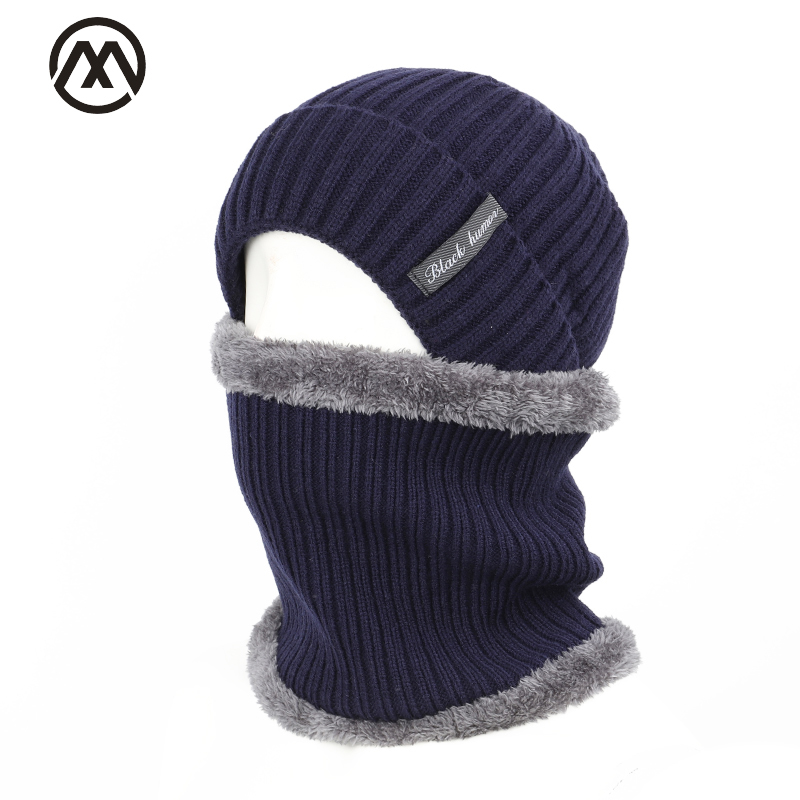 2019 Striped Men's Winter Hat Scarf 2 Sets Of Men And Women Winter Warm Cotton Hat Scarf Set Plus Velvet Thick Letter Label Hat