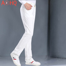 Summer Thin Flare Pants Men 97% Cotton Bootcut Boot cut Classic Fit Flat Front Pant 2021 Flared Trousers Male