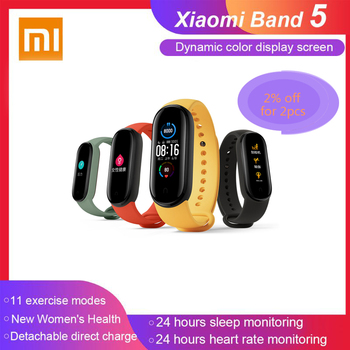 China Version Xiaomi Mi Band 5 Smartband Color Touch Screen Miband 5 Wristband Fitness Heart Rate Monitor Sport Waterproof Strap
