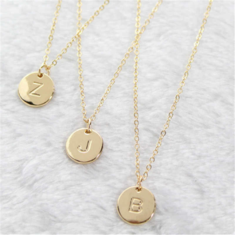 Fashion 26 Letters Pendant Necklace For Woman Cute Gold Color Sequins Alloy Round Necklace Wedding Jewelry