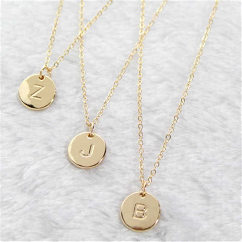 2020 موضة 26 رسائل قلادة قلادة للمرأة لطيف الذهب اللون الترتر سبيكة قلادة مستديرة مجوهرات الزفاف