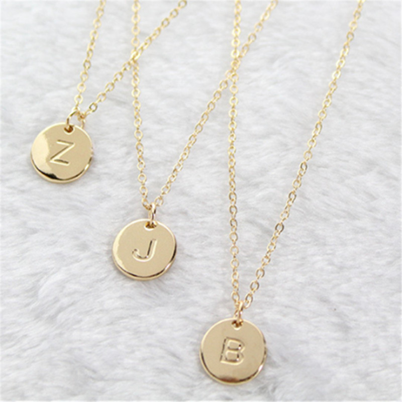 2020 Fashion 26 Letters Pendant Necklace For Woman Cute Gold Color Sequins Alloy Round Necklace Wedding Jewelry(China)