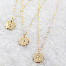 Fashion 26 Letters Pendant Necklace For Woman Cute Gold Color Sequins Alloy Round Wedding Jewelry