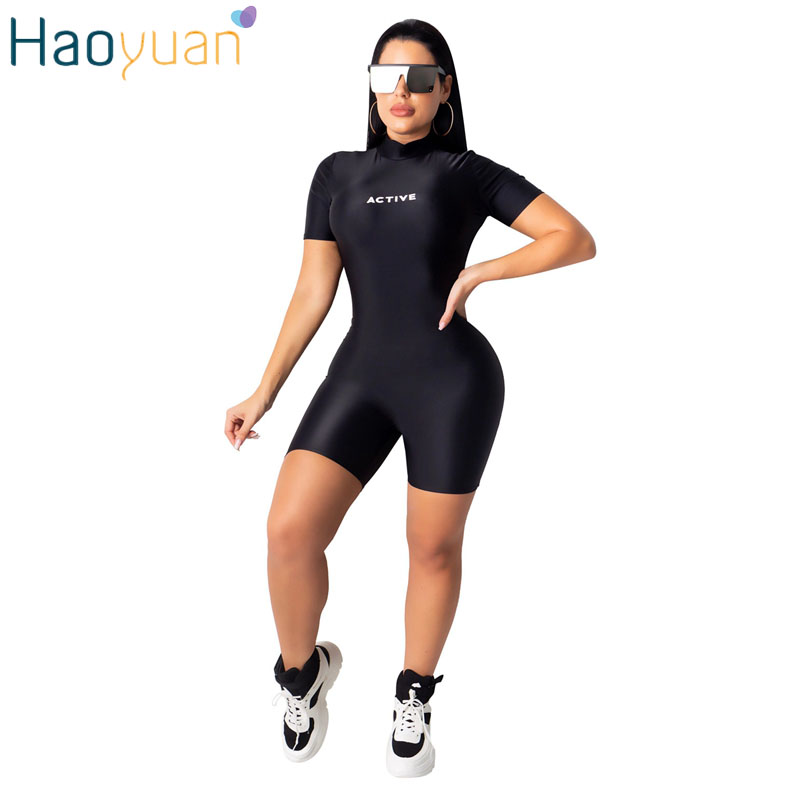 ZOOEFFBB Letter Print Playsuit Short Sleeve Sports Fall Tracksuit One Piece Outfits Bodycon Bodys Rompers Womens Jumpsuit Shorts