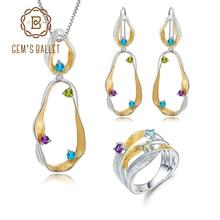 GEM'S BALLET Natural Topaz Amethyst Peridot Twist Jewelry Set 925 Sterling Silver Handmade Ring Earrings Pendant Sets For Women