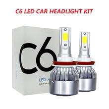 2PCS C6 Car Led Headlight Kit LED H4 LED H7 H11 H13 H1 H3 9004 880 9005 9006 COB 6000K 72W 8000LM Hi/Lo Beam Turbo Light
