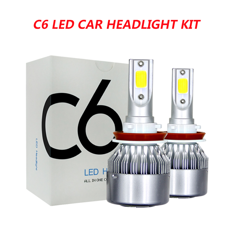 2PCS C6 Car Led Headlight Kit LED H4 LED H7 H11 H13 H1 H3 9004 880 9005 9006 COB 6000K 72W 8000LM Hi/Lo Beam Turbo Light