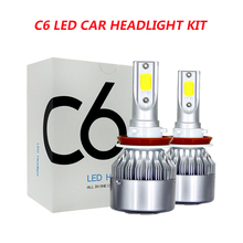Kit de farol de led para carro, 2 peças, c6, led, h4, led, h7, h11, h13, h1, h3, 9004, 880, 9005 e 9006, cob luz turbo feixe 6000k 72w 8000lm
