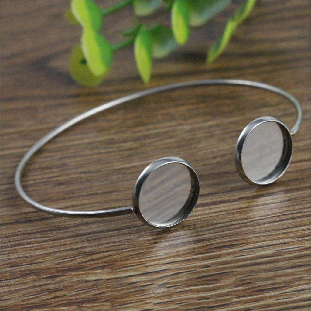 2pcs/Lot Fit 12mm Round Glass Cabochon 316 Stainless Steel Super Flexible Bangle Base Bracelet Blank Tray Bezel Setting