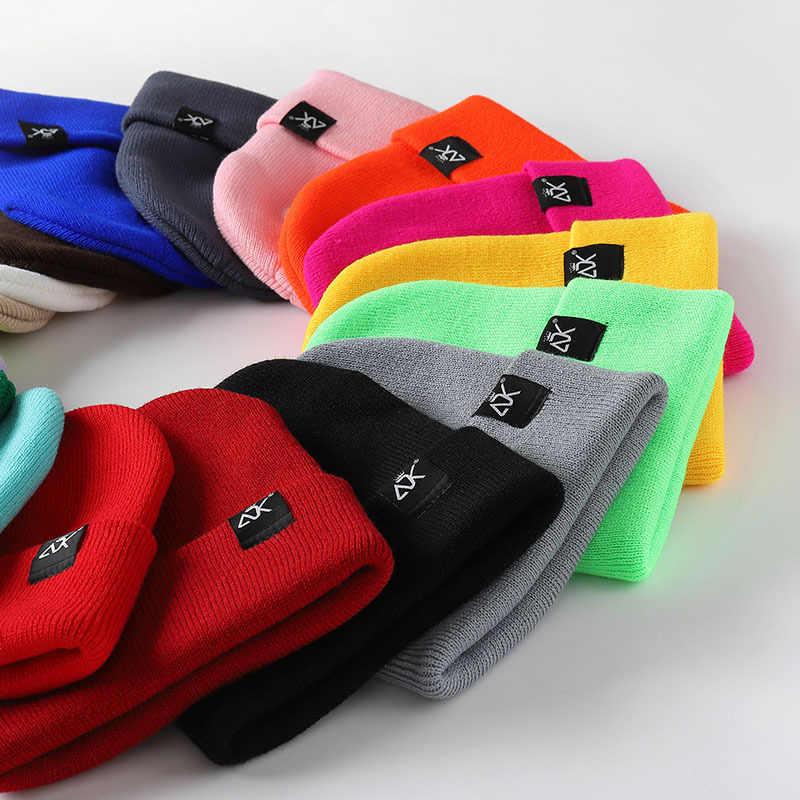 กลุ่มกระโดดใหม่ถักหมวกBeanieสำหรับผู้หญิงผู้ชายฤดูใบไม้ร่วงฤดูหนาวง่ายWarm BeaniesหมวกHip Hop Skulliesหมวกสุภาพสตรีคุณภาพสูง