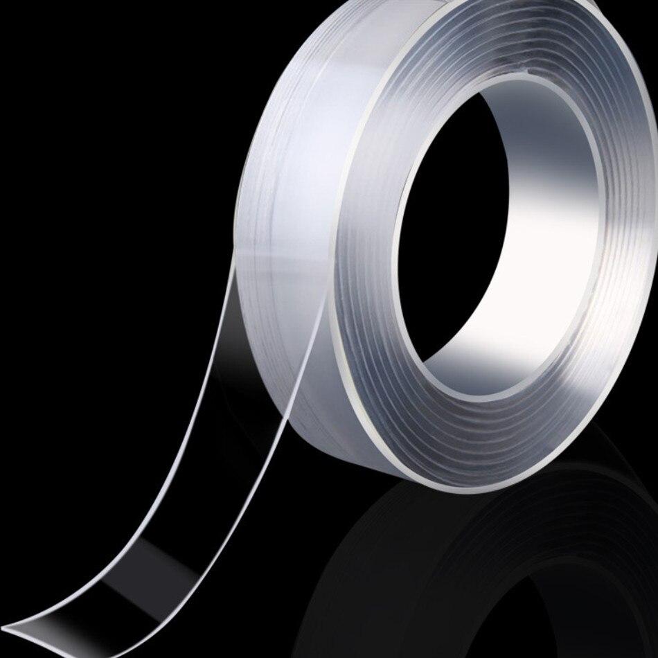 1/2/3/5m extérieur réutilisable Double face adhésif Nano tracless bande amovible autocollant lavable adhésif boucle