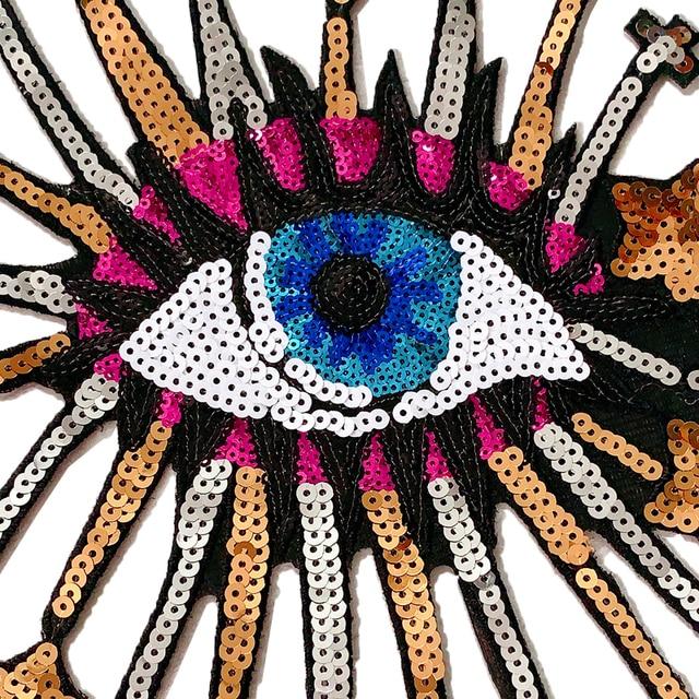 Parche de lentejuelas para bordado de ojos, insignias en la mochila, suministros de costura al por mayor, planchado para insignias de ropa 2