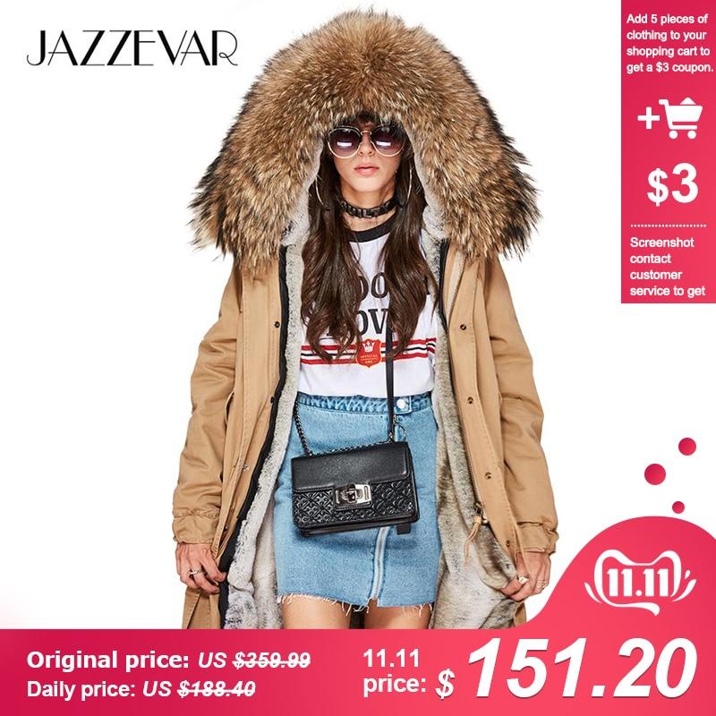 JAZZEVAR 2019 Novo de alta Moda das Mulheres de Longo X-parka grande gola de pele de guaxinim real Casaco Com Capuz Outwear Militar jaqueta de inverno