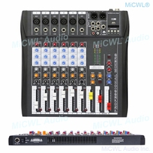 Brand New 6 Channel Audio Mixer Sound Mixing Console with Bluetooth 48V Phantom USB 3 Brand EQ effect