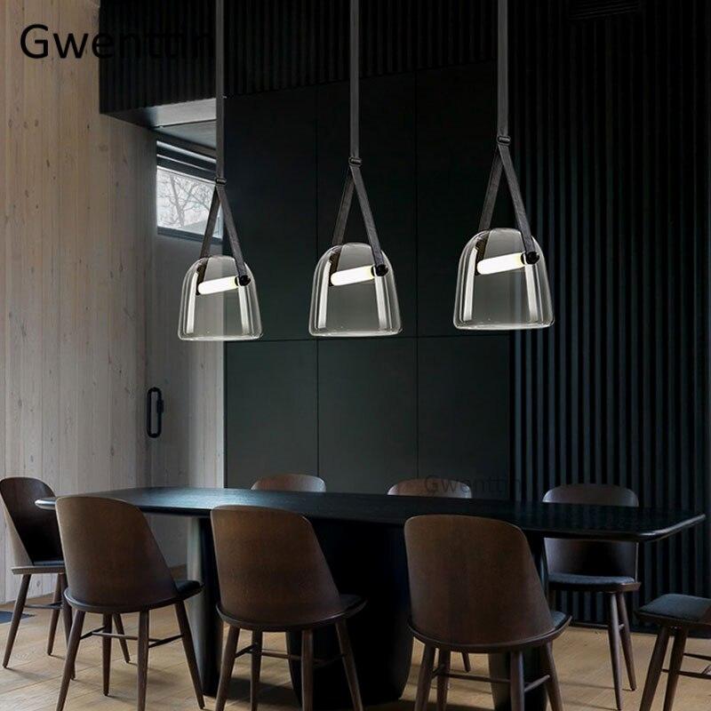 Image 2 - Modern Mona Glass Pendant Lights Led Belt Hanging Lamp for Living Room Bedroom Kitchen Fixtures Suspension Luminaire Home Decor-in Pendant Lights from Lights & Lighting