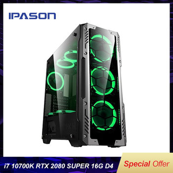 IPASON New High End I7 10700K Rtx2080 Super Z490 Motherboard 1t M2 Nvme SSD Water Cooling PUBG Gaming Desktop Computer DIY PC 1
