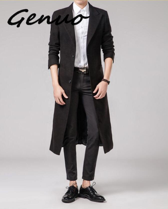 Autumn Winter Mens Pure Color Fashion Boutique Wool Blends Super Long Woolen Cloth Dust Coat / Male Slim Black Dust Coat Jackets