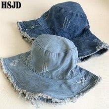 Chapéu de denim estilo bucket hat, chapéu feminino estilo panamá, aba larga, dobrável, para viagem, para praia, anti uv bonnet