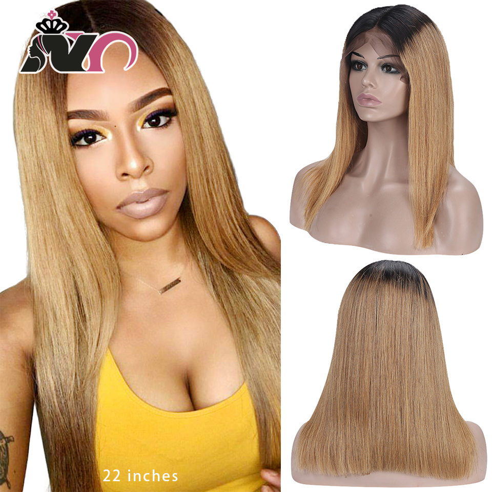 NY Hair Blonde Straight Hair Wig Lace Front Human Hair Wigs 13x4 Lace 1B27 Brazilian Remy Hair Wigs For Women 130% Pre Plucked