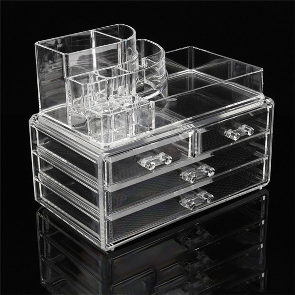 Desktop Transparent Clear Acrylic Cosmetic Organizer Makeup Storage Boxes Organizer Makeup Tools Jewelry Boxes Lipstick Cases