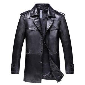 Image 2 - חדש באיכות גבוהה אופנה סופר גדול גברים אמיתי עור מעיל מעיל רופף חליפת צווארון סתיו חורף מקרית Plsu גודל L 8XL 9XL