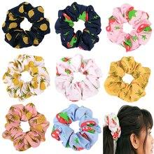 Модные резинки для волос с цветочным принтом, элегантный конский хвост, заколка для волос, корейские милые эластичные резинки для волос, аксессуары для волос для девочек