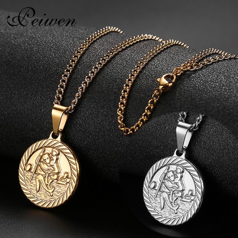 All Patron Saints St Christopher Necklace Medal Prayer Card For Driver Stainless Steel Women Men Bible Jesus Protection Jewelry