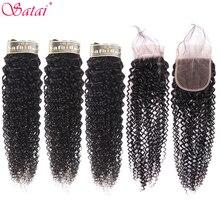 Satai 変態縮毛 3 バンドルと閉鎖中間部自然色人間の毛ブラジル毛織りバンドル非レミー髪