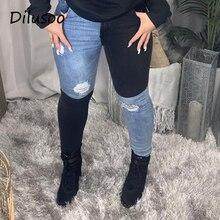 Jeans Pants High-Waist Women Trousers Elastic-Holes Skinny Ladies Contrast Dilusoo