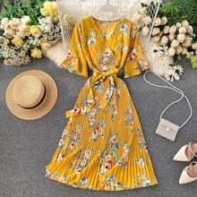 Boho 2020 V Neck Floral Print Summer Bandage Dress Midi Long Chiffon Party Women Casual Elegant Pleated Beach Holiday DressesDresses