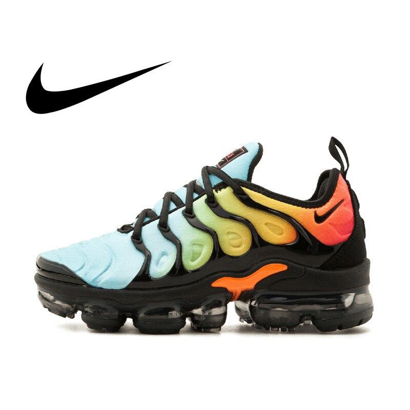 Original authentique 2018 nouveau NIKE VAPORMAX PLUS chaussures de course pour hommes confortable porter des chaussures de sport de plein air qualité 924453-005