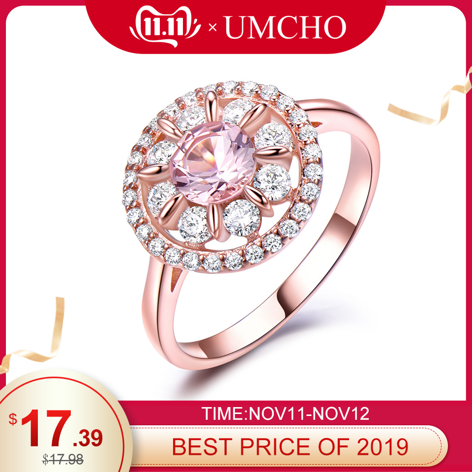 UMCHO Morganite Gemstone Rings For Women Genuine 925 Sterling Silver Fashion May Birthstone Ring Romantic Gift Fine Jewelry
