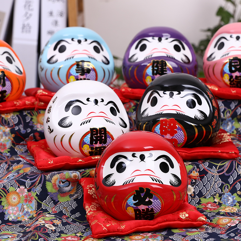4.5 Inch Japanese Ceramic Daruma Doll Lucky Charm Fortune Ornament Fengshui Zen Craft Money Box Home Tabletop Decoration Gifts