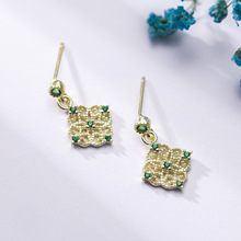 New Arrival Sterling Silver 925 Emerald Earrings Silver Square Openwork Green Zircon Stud Earrings for Women Palace Jewelry Gift new arrival sterling silver 925 emerald earrings silver square openwork green zircon stud earrings for women palace jewelry gift