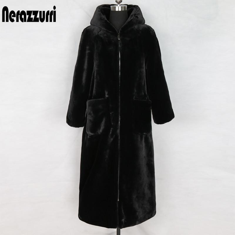 Nerazzurri long winter faux fur coat with hood long sleeve zipper black furry fake rabbit fur outwear plus size shealing jacket