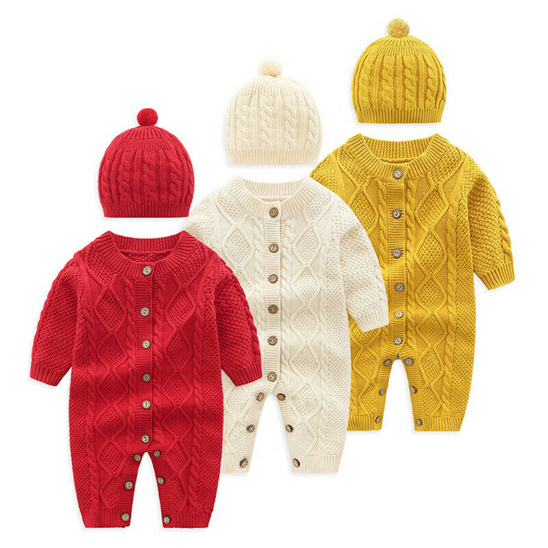 Pudcoco 2019 New 0-18M Kids Baby Boys Girls Warm Infant   Romper   Knit Solid Single Breasted Jumpsuit Clothes Sweater Outfit