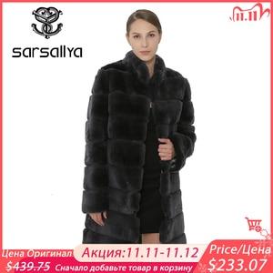 Image 1 - SARSALLYA Rex Rabbit Fur Women Coat  Detachable Overcoat Jacket Warm Winter Women Clothing Natural Fur Female Coat Jacket
