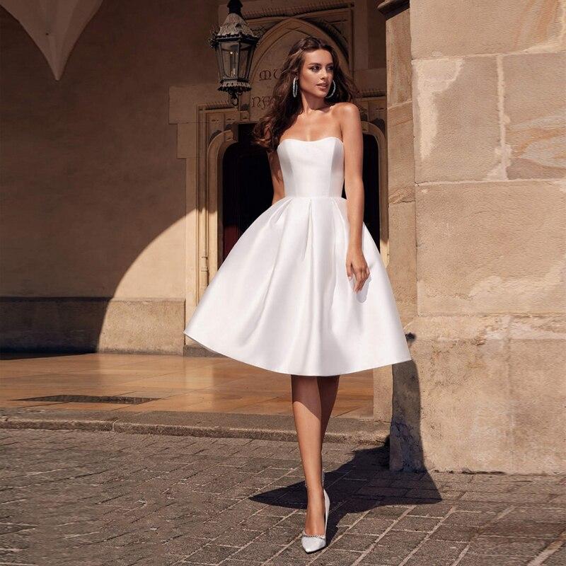 Verngo Simple Ball Gown Wedding Dress Soft Satin Short Bridal Dress Elegant Boho Wedding Gowns 2019 Turkey Vestidos De Noiva